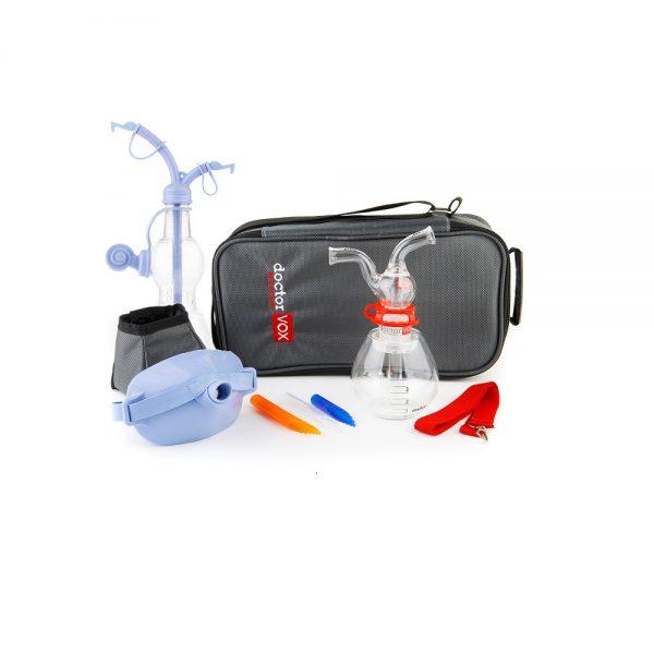 doctorvox voice mask set: doctorvox apparatus, thermos, mouthpieces, maskvox, pocketvox, a special bottle designed for the pocketvox